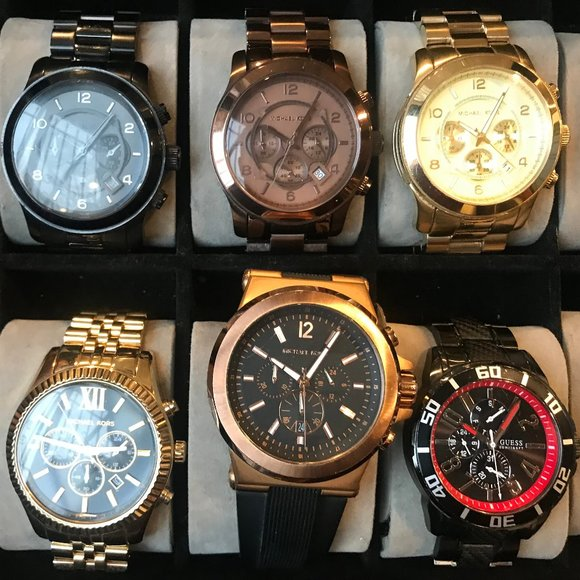 5 Michael Kors Watches + 1 Guess Watch + Watch Box